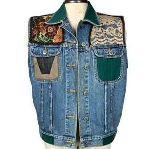 Vintage Patchwork Denim Vest